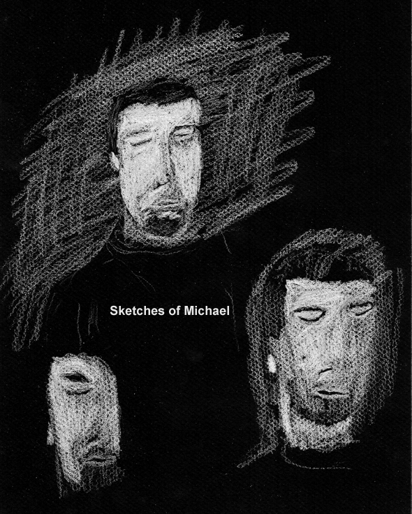 sketches of autistic brother white on black