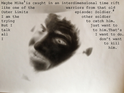negative image of brother mike with text overlay