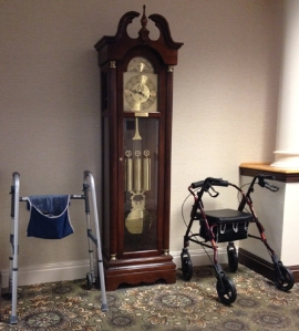 Grandfather clock and walkers