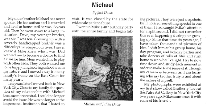 1997 Advocate article and photograph of Mike and Dad