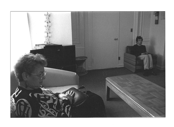 Mom and Mike in living room, isolated from each other