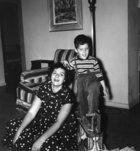 Mom and Mike in living room, playing