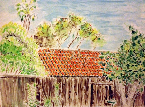 first watercolor of orange roof