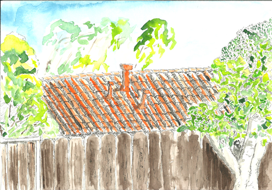 Orange roof watercolor number 2 on smooth paper