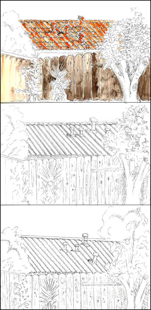 One partially completed watercolor and 2 sketches of orange roof