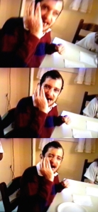 Series of stills from video showing Mike laughing