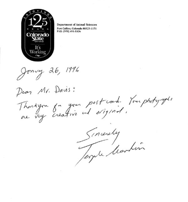 Handwritten letter from Temple Grandin