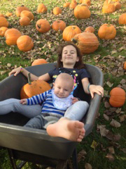 Grandson and Granddaughter at pumpkin patch