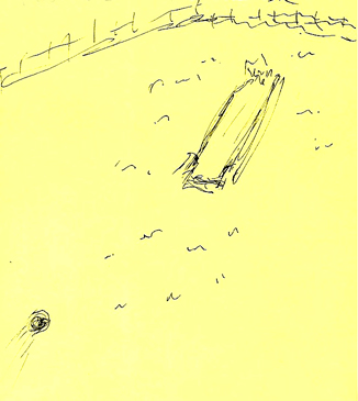 sketch of my dream of bowling alley in a field