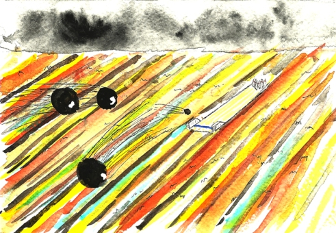 watercolor painting of dream of bowling alley in a field
