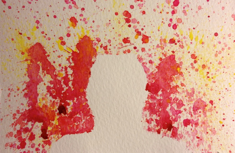 Watercolor of spatter pattern except for a white-space profile