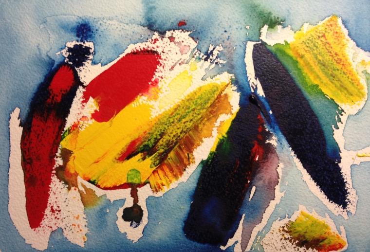 Watercolor experiment using razor blade