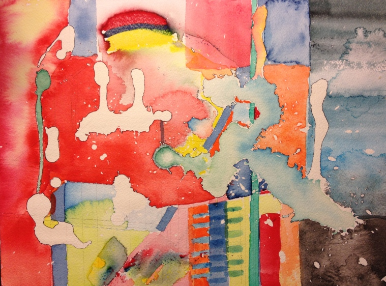 12-18-13 Experiment Watercolor abstract using masking fluid