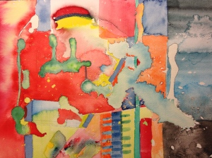Abstract expressionist watercolor using latex rubber masking fluid