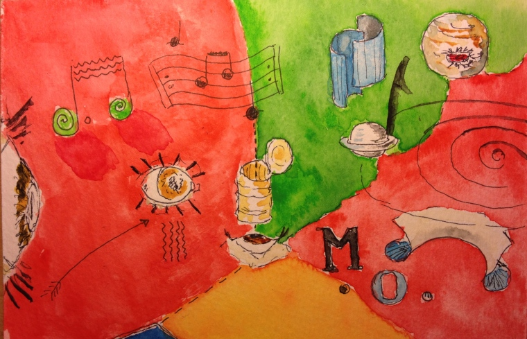Abstract watercolor using author's icons; red and green fields predominate, with smaller orange field at the bottom