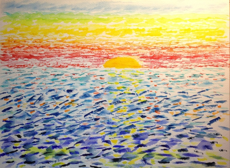 Sunset using dabs of paint