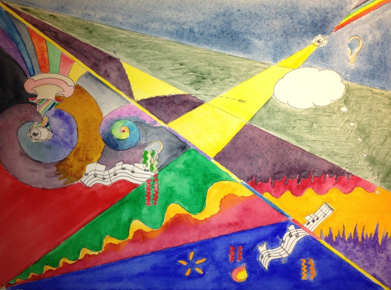 abstract or surreal watercolor study 1-8-14