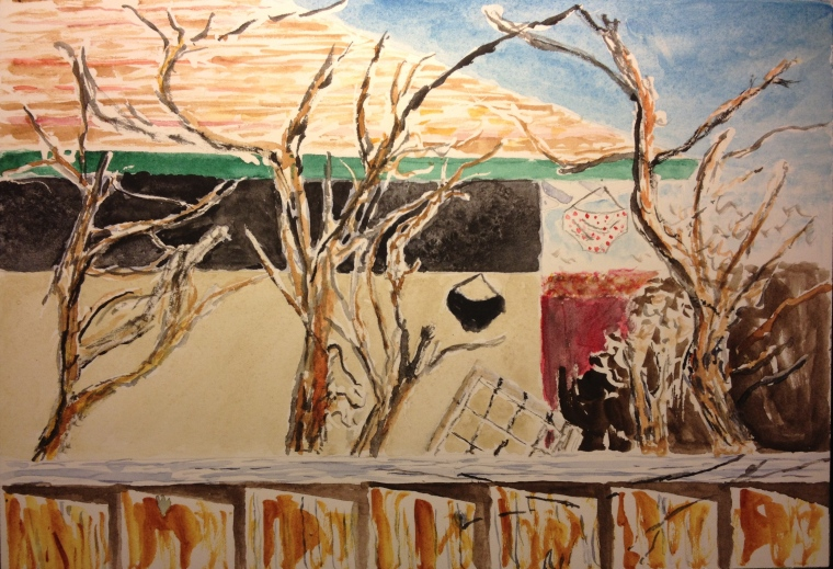 representational watercolor of next door neighbor's yard, with underwear hanging out to dry