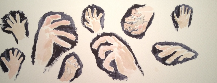 Watercolor study of hands with different gestures