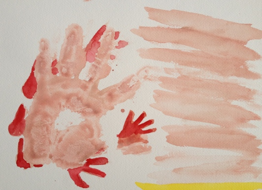 Study of Hand Icons, real hand print and slapping icon