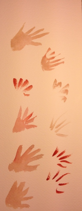 A series of small watercolor strokes, practice for hand icons