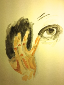 Hand and eye only, in a portrait of my brother