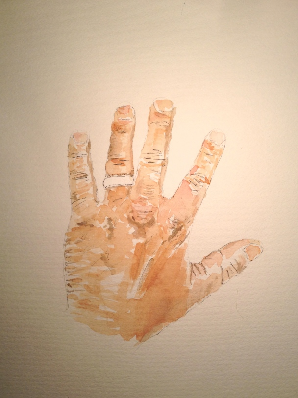 Watercolor study of right hand