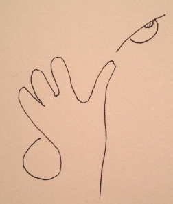 Line Drawing of Hand and Eye