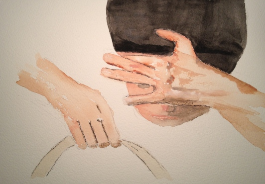 Watercolor study of Mom's hands with Mike and Purse
