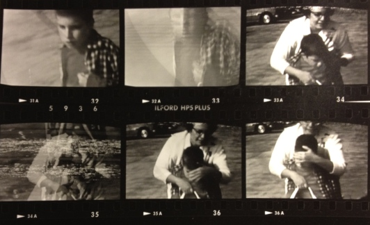 Contact sheet of stills from home movie with Mike and Mom