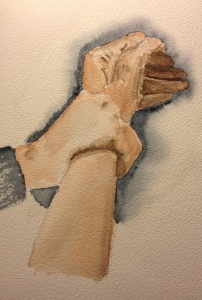 Watercolor sketch of one hand grasping another