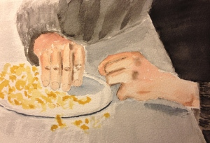 Watercolor sketch of Mike eating cake with his hand