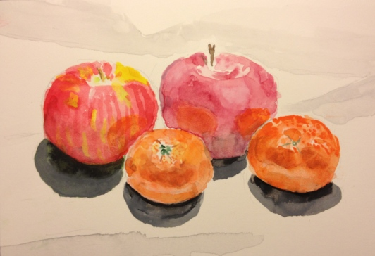 Still life of Apples and Oranges