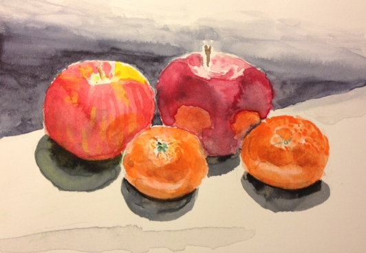 Watercolor of Apples and Oranges, Retouched
