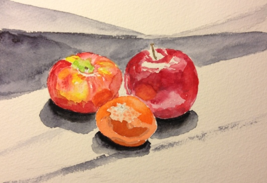 Two Apples and an Orange - Watercolor Sketch