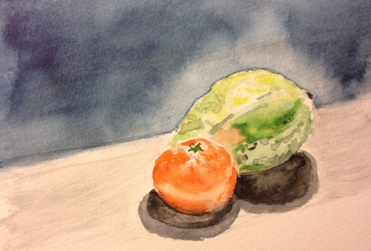 Still Life Watercolor - Guava and Tangerine