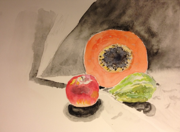 Still Life Watercolor - Papaya, Apple and Guava