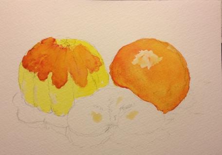 Butternut Squash, Blood Orange and Kiwi - sketch with lemon yellow plus winsor red