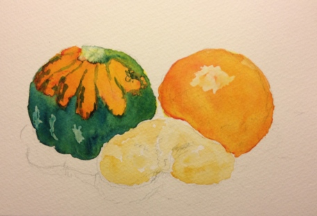 Butternut Squash, Blood Orange and Kiwi - sketch with lemon yellow plus winsor red and prussian blue and yellow ochre