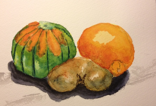 Butternut Squash, Blood Orange and Kiwi - sketch with lemon yellow plus wins or red, prussian blue, yellow ochre, payne's gray, ivory black
