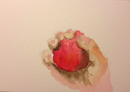 Watercolor Sketch - Left-handed Drawing of Right Hand Holding an Apple