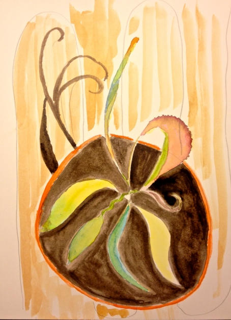 Watercolor Sketch - Arthur, my pet avocado, planted in a clay pot, seen from the top