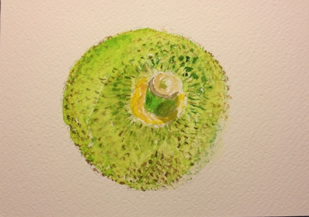 Watercolor Sketch of Single Jack Fruit at Whole Foods