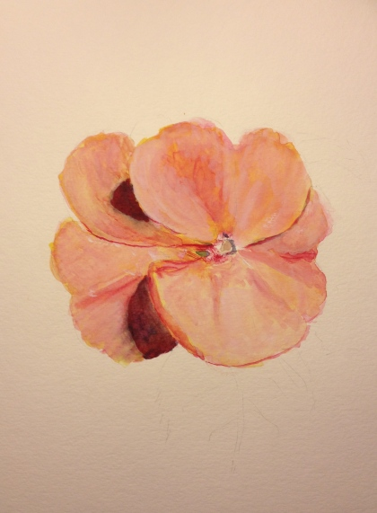 Watercolor Sketch - Pink Flower Third Stage