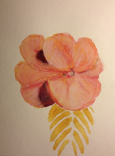 Watercolor Study - Pink Flower with Leaf - Stage 0