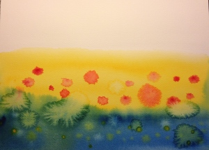 Watercolor Sketch - Poppy Field Evolution 1