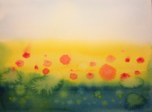 Watercolor Sketch - Poppy Field Evolution