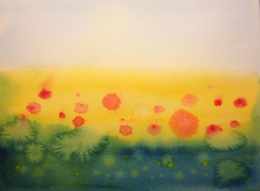 Watercolor Sketch - Poppy Field Evolution