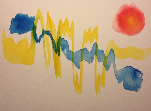 Watercolor Sketch - Abstract Expressionist Rhythm and Dot