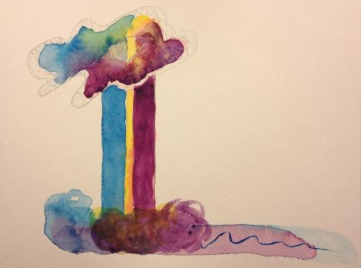 Watercolor Sketch - Abstract Rainbow